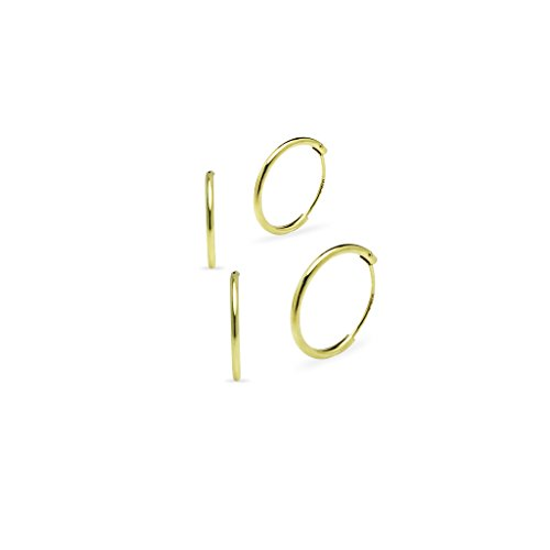 Yellow Gold Flash Sterling Silver 10mm 12mm Round Endless Hoop Earrings, Two Pair Set