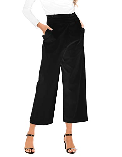 MiXiaoJie Women's High Waist Casual Loose Fit Wide Leg Cropped Pants with Pockets (Black, XX-Large)