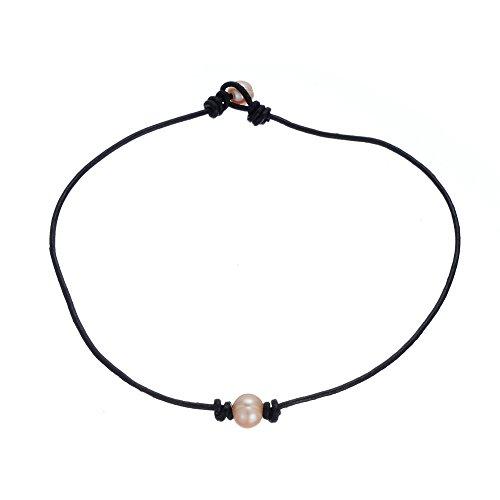 d924fdfc85f2 Minimalista agua dulce ajustable único Pearl Gargantilla Collar Piel Collar  con perla en Oriente Venta caliente