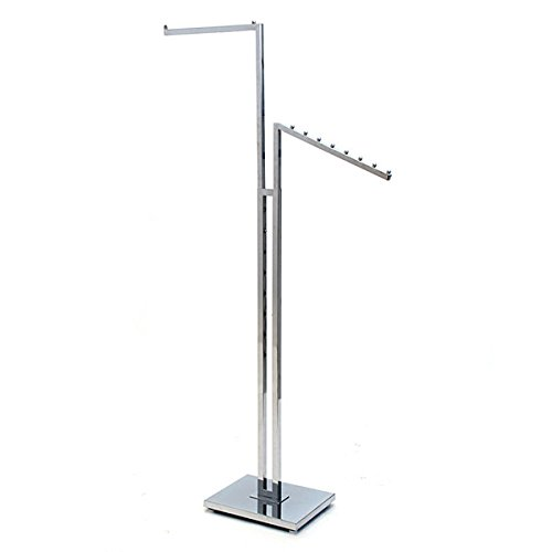 KC Store Fixtures 28202 2-Way Garment Rack with 1''-16'' Straight Arm and 1 Slant Arm, Square Tubing Frame/Arms, Chrome