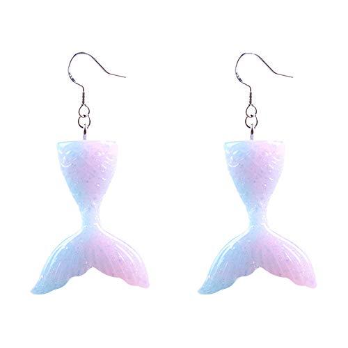 Creative Chic Mermaid Tail Drop Earrings,Fishtail Dangle Earring for Women Jewelry (Pink) ()