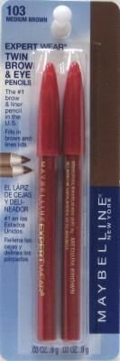 Maybelline New York Expert Wear Twin Brow and Eye Pencils, 103 Medium Brown, 0.06 Ounce, Pack of 2 by (0.06 Ounce Eye)