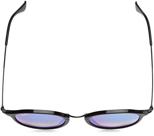Ray-Ban Acetate Man Sunglasses - Shiny Black Frame Mirror Gradient Blue Lenses 49mm Non-Polarized