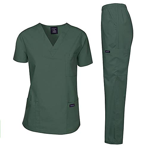 Dagacci Medical Uniform Woman and Man Scrub Set Unisex Medical Scrub Top and Pant, HGREEN, XS