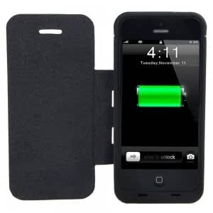 3000mAh External Battery Case with Leather Cover for iPhone 5 Dark Blue