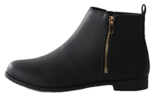 Heel 3 New Style Short Chelsea Ankle Winter 8 Boots Ladies Womens 3 Flat Vintage Low Black Size Pixie 7xXn6C