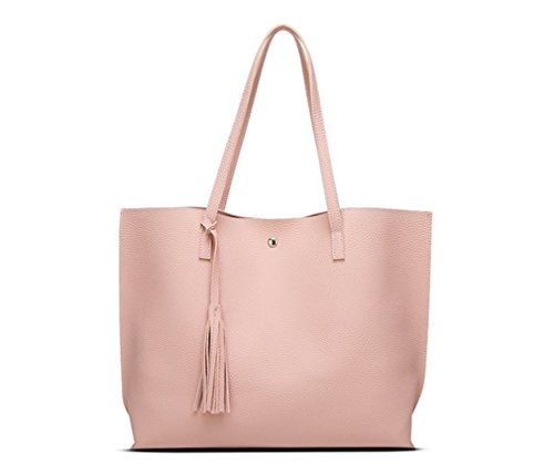 Nodykka Women Tote Bags Top Handle Satchel Handbags PU Pebbled Leather Tassel Shoulder Purse,One Size,Pink ()