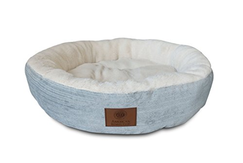 American Kennel Club AKC Casablanca Round Solid Pet Bed, Light Blue
