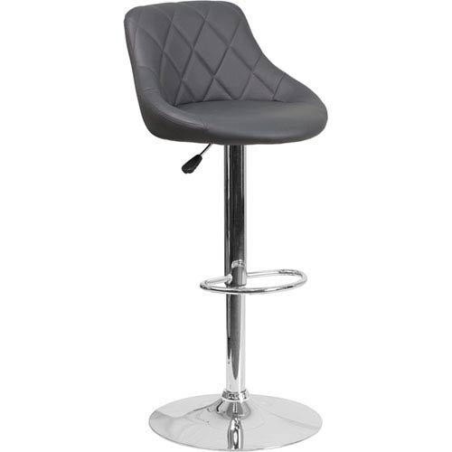 - Parkside Contemporary Gray Vinyl Bucket Seat Adjustable Height Barstool with Chrome Base