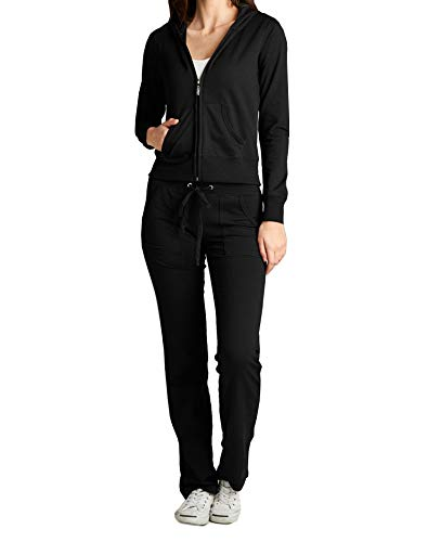 ClothingAve. Women's Lightweight Hoodie & Sweatpants French Terry Suit 2 Piece Loungewear Set,French Terry Set - Black,Small