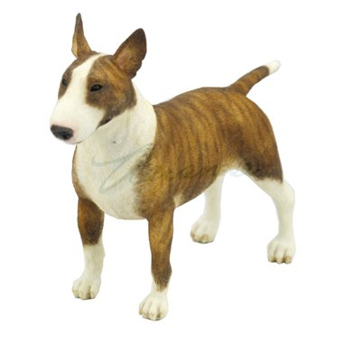 Bull Terrier Figurine - 5.5 Inch Poly Stone Bull Terrier Dog Figurine Home Decor Brown White