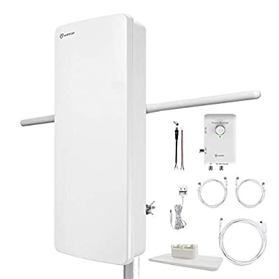 Image of ANTOP HDTV Antenna Indoor/Outdoor with Smart Boost System,FM Amplified Multi-Directional functionality Antenna, 85 Mile Range,UHF/VHF Range Enhanced, Support 4K 1080p Channels & All Older TV's TV Antennas