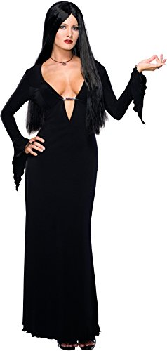 (Secret Wishes Women's Adult Morticia Addams Costume Dress & Wig, Black)