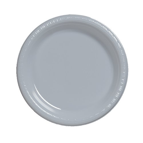 Creative-Converting-Touch-of-Color-20-Count-Plastic-Lunch-Plates-Shimmering-Silver