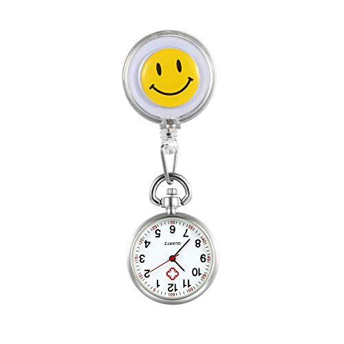 - Women Nurses Watches Clip-on Hanging Lapel Fob Pocket Watch Cute Smile Round Face Arabic Markers for Ladies and Girls - White