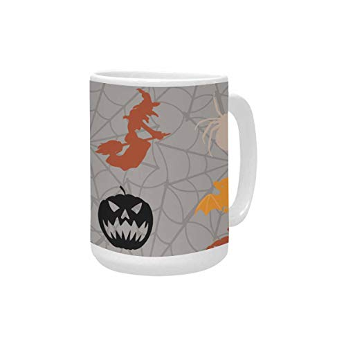InterestPrint Cartoon Halloween Colorful Figures Ceramic Coffee Travel