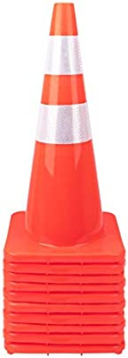 10 10 Pack 28 Traffic Cones Plastic Road Cone Safety Road Parking Cones Weighted Hazard PVC Cones Construction Cones for Traffic Fluorescent Orange w//4 w//6 Reflective Strips Collar
