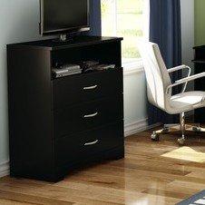 Modern Minimalist 3-Drawer Media Chest Bedroom w/ Shelf - Dresser ...