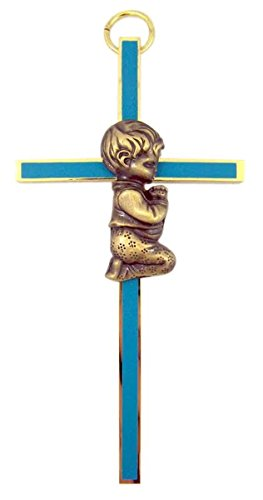 Boys First Holy Communion Brass and Blue Enamel Wall Cross, 4 - First Communion Crucifix Holy