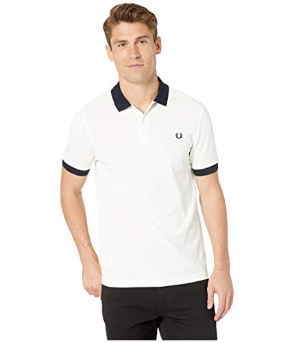 Fred Perry Men's Color Block Pique Shirt Snow White X-Large (Pique Fred White Perry)