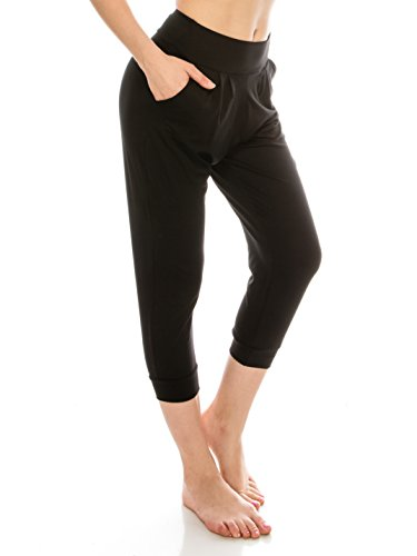 EttelLut Harem Jogger Yoga Exercise Loose Fit Casual Pants with Side Pockets Black L
