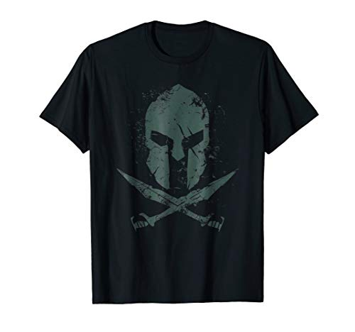 Green Helmet T-shirt Big (Spartan Helmet T-Shirt Greek Warrior Swords Military Green)