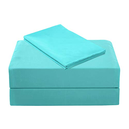 ARTALL Twin Sheet Set, Brushed Microfiber with Deep Pocket Wrinkle Free Hypoallergenic Bedding – 3 Piece, Teal