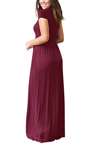 Casual Robe Robes avec S Courtes vin Rouge t Poches Dasbayla Femmes Manches Longues wCdTHwqp