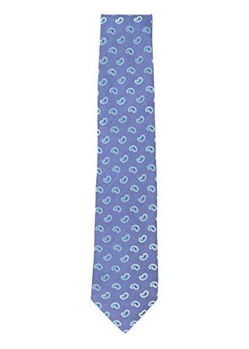 Isaia Mens Indigo Blue Silk Linen Blend Paisley Pattern 7 Fold Tie~RTL$275 ()