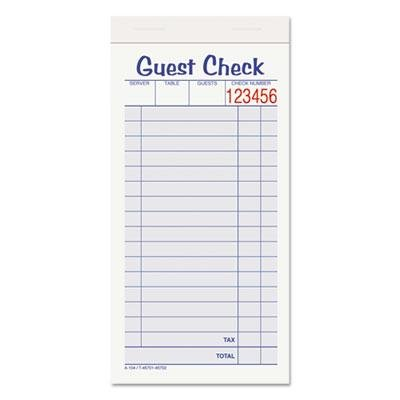 """Adams - 3 Pack - Guest Check Unit Set Carbonless Duplicate 6 7/8 X 3 3/8 50 Forms 10/Pack """"Product Category: Forms Recordkeeping & Reference Materials/Forms & Recordkeeping Systems"""""""