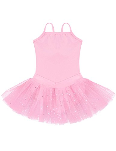 Ephex Girls' Ballet Leotard Dance Tutu Dress Sleeveless Sequined Skirt Pink (Size 120/US 5T) - Leotard Tutu