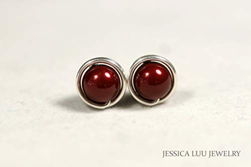 - Sterling Silver Dark Red Pearl Stud Earrings Bordeaux Swarovski Pearl Earrings Sterling Silver or Gold Filled Wire Wrapped