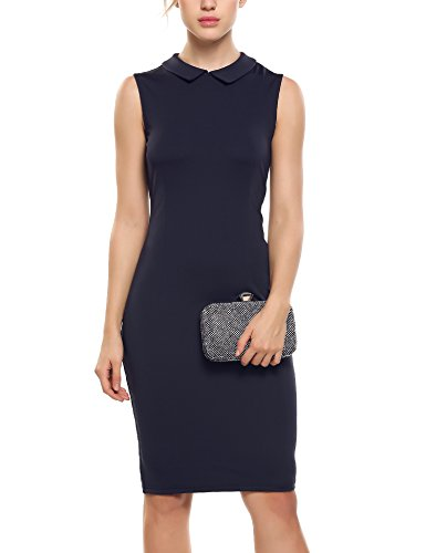 ANGVNS Women's Suit Collar Sleeveless Wear to Work Bodycon Office Dresses