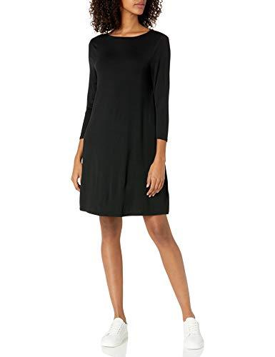 Amazon Essentials Women's Patterned 3/4 Sleeve Boatneck Dress