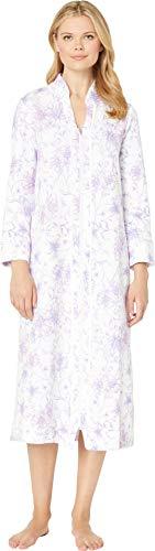 (Carole Hochman Women's Zip Robe, White Watercolor Floral)