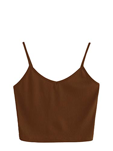 SheIn Women's Casual V Neck Sleeveless Ribbed Knit Cami Crop Top Brown ()