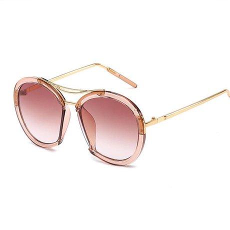 tintada de Rosa Brown redondas Gafas Amarillo Gafas sol rosa de luminosas Hombres super sol Uv400 GGSSYY Lente Rojo U5aqXTT