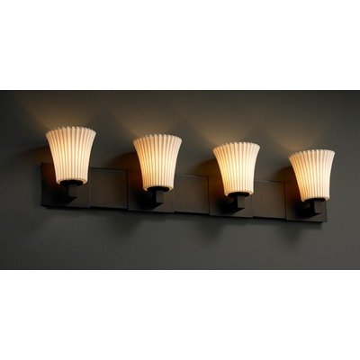 Light Bath Bar Oval Shades (Justice Design POR-8824-20-OVAL-MBLK Limoges - Four Light Bath Bar, Impression Option: Oval Shade Impression, Choose Finish: Matte Black Finish, Choose Lamping Option: Standard Lamping)