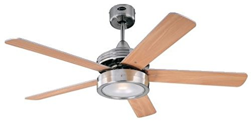 78545 Hercules One-Light 132 cm ventilatore a soffitto per interni a cinque pale, finitura nichel spazzolato