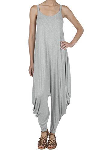 SHOP DORDOR 9011 Women's Casual V-Neck Sleeveless Loose Harem Romper Jumpsuits LT.H.Grey 2XL