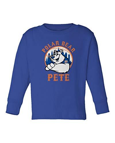 (SMARTZONE New York Fans Alonso Polar Bear Pete Baseball Little Kids Girls Boys Long Sleeve Toddler T-Shirt (Royal, 5T))
