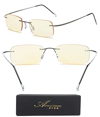 Blue Light Blocking [Rimless frame] Computer Glasses, Anti UV Eye Strain Clear Lens Reading Video Eyewear by AoHeng (Image #6)