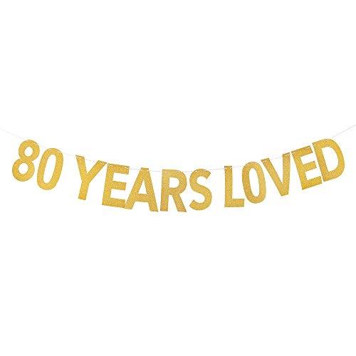 PALASASA 80 Years Loved Banner - Gold Glittery 80th Birthday Party (Lego Spongebob Halloween 5)