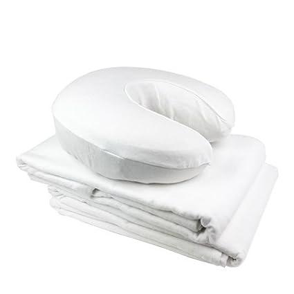 Massage Linens - Flannel - 3 Peice Set - Professional Grade 100% Cotton Massage Table Sheets Set (White) Know Your Body Best