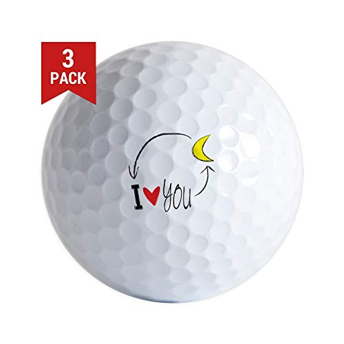 CafePress I Love You to The Moon and Back Golf Ball Golf Balls (3-Pack), Unique Printed Golf - Golf Moon