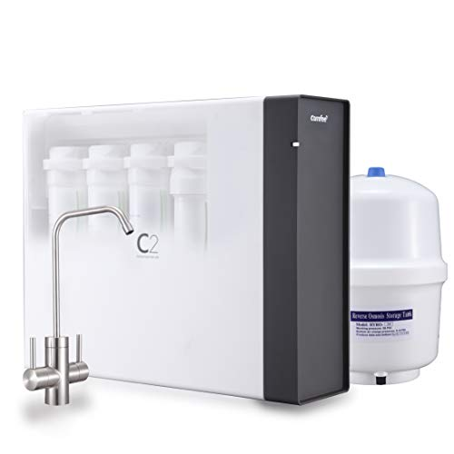 Comfee 4-Stage Under Sink Mini Reverse Osmosis Drinking Water Filtration System - Two Handle Faucet Delivers Purified RO Water for Drinking and Rinse Water for Fruits,Vegetables- NSF372 & UL Certified