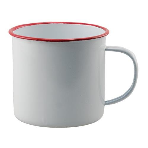 Vintage Style Enamel White Soup Mug. With Red Trim. Set of ()