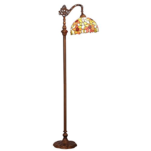 Bieye L10515 12-inches Sunflower Tiffany Style Stained Glass Reading Floor Lamp with Metal Base, 65-inches Tall (Style Tiffany Sunflower)