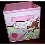 Pink Elephant and Monkey Paisley Fabric Bin Girl's Personalized Bedroom Baby Nursery Organizer for Toys or Clothing (Pink Paisley Monkey)