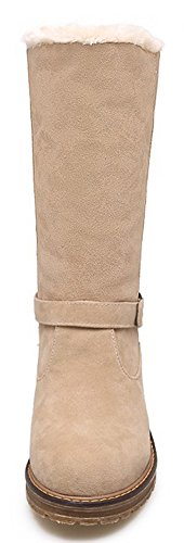 Casual Suede Boots Mid Calf Aisun Faux Low Chunky Women's Beige Heels Top Shoes UxOqt5